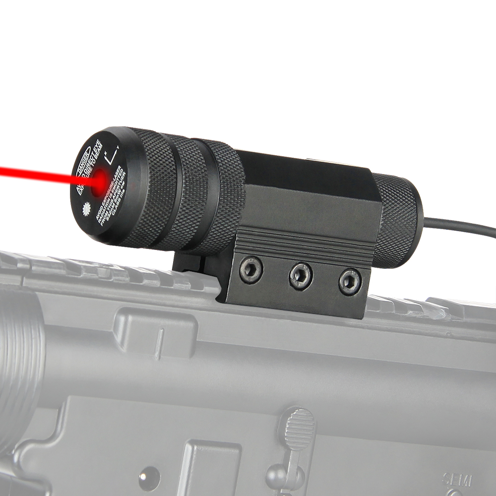 PPT Tactical Red Laser Pointer Red Laser Sight with Cable Switch Fit For Picatinny Rail Black For Hunting Shooting PP20-0039