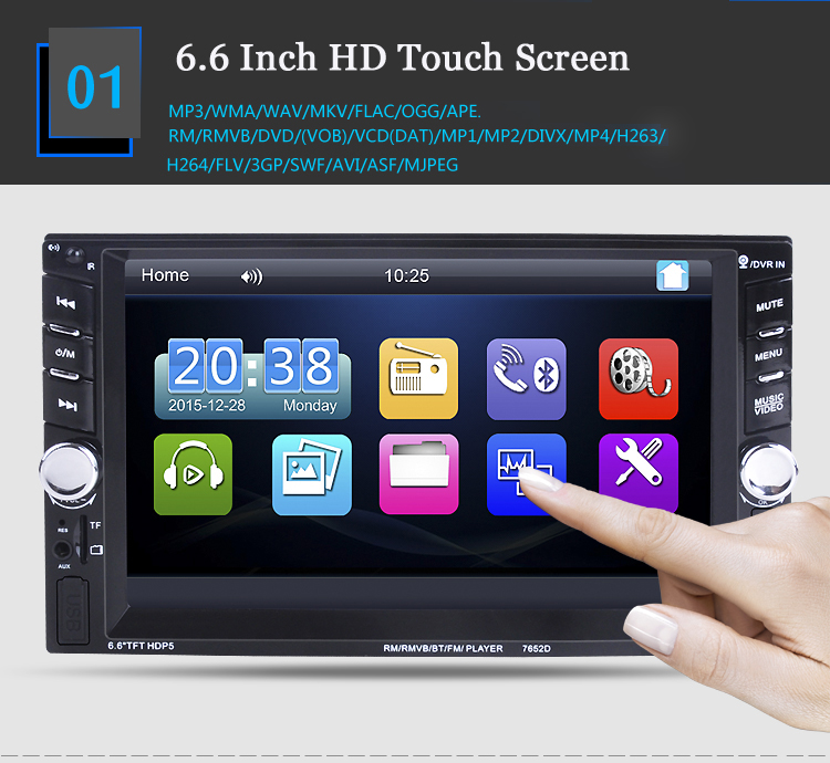 2 DIN Car Radio support DVR input 2 USB 6.6 MP5 MP4 Player Touch Screen Bluetooth Stereo Video steering wheel control