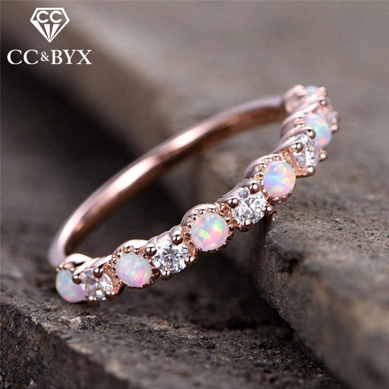 CC Trendy Jewelry font b Rings b font For Women Bijouterie Opal Cubic Zirconia Simple Personality