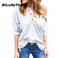 BiLaRyThy Primavera Y Otoño Mujeres Casual Lace Up V Cuello Camisetas de Manga Larga Con Capucha Tops Tees Solid Camiseta Básica