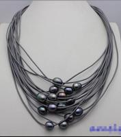 Free Shipping Hot Sale Women Bridal Wedding Jewelry Black Freshwater Pearl 15strand Gray Genuine Leather Cord