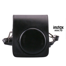 For Fuji Fujifilm Instax Mini 70 Instant Photo Camera Black Leather Case Protective Bag Pouch Protector with Shoulder Strap(Hong Kong)