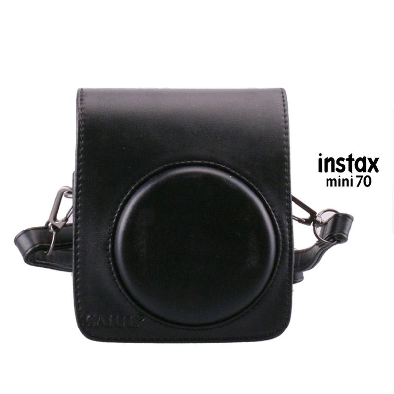 Prix pour Pour fuji fujifilm instax mini 70 instantanée photo caméra étui en cuir noir de protection sac protecteur de poche avec bandoulière
