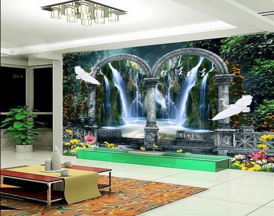 New large wallpaper custom wallpaper garden 3d for Custom photo mural wallpaper