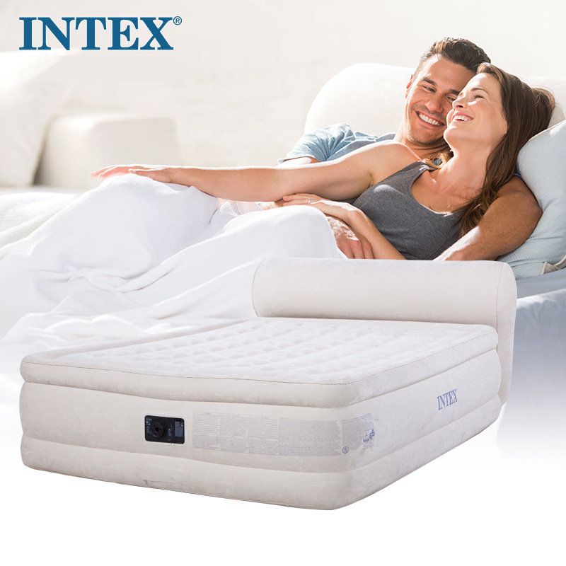 INTEX 64460 152*229*79CM Flocking Thickening Built-in Electric Pump Double Back Air Mattress Air Bed Inflatable Mattress betos car air mattress travel bed auto back seat cover inflatable mattress air bed good quality inflatable car bed for camping