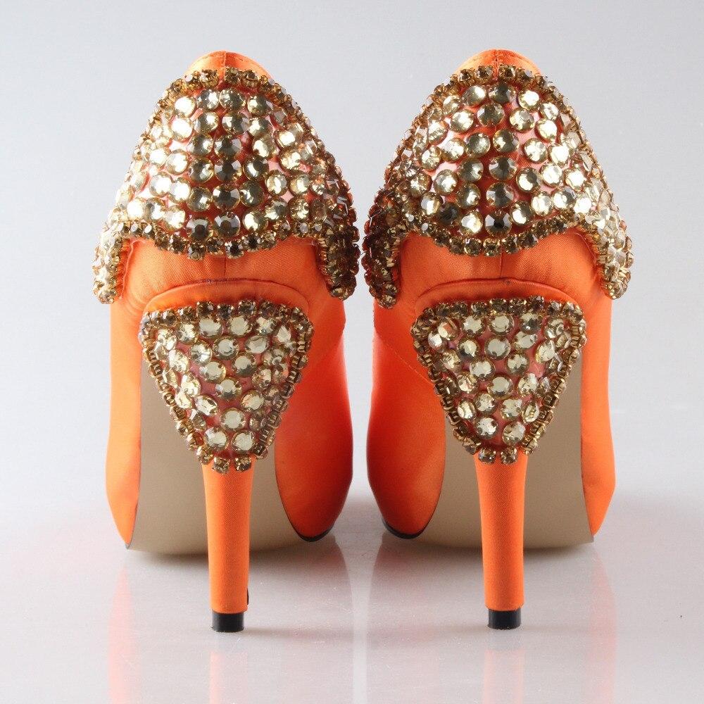 цена на Handmade orange crystal rhinestone heel shoes pumps watercolor tropical wedding party bridal shoes party prom cocktail heels
