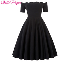 2016 Women Dress Robe Vintage Short Sleeve Off Shoulder Black Summer Dress Jurken 1950s 60s Retro
