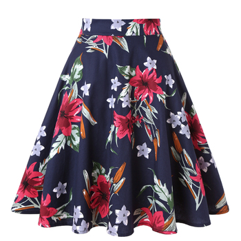 Summer Skirt Women Floral Print 50s Rockabilly Swing Skirts Womens Elegant High Waist Female Floral Casual Party style Skirts фото