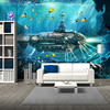 3D Submarine Underwater World Wall Decor-Free Shipping 3D Wall Stickers For Kids Rooms