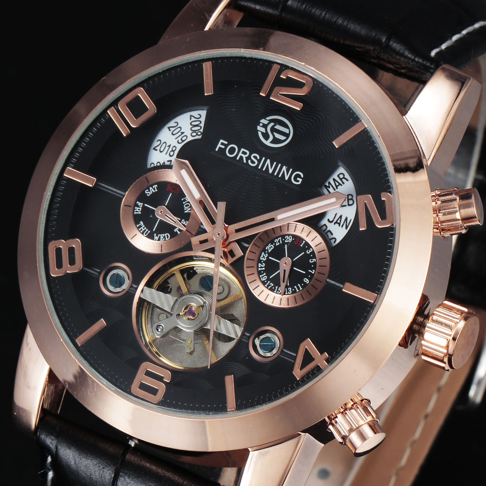 Tourbillion Automatic Mens Watches FORSINING Brand Luxury Leather Strap Calendar Mechanical Rose Gold Wristwatch Gift Men ClockTourbillion Automatic Mens Watches FORSINING Brand Luxury Leather Strap Calendar Mechanical Rose Gold Wristwatch Gift Men Clock
