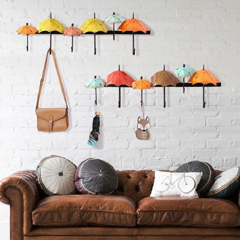 Européenne rétro fers parapluie clé crochets Art créatif mur Top vêtements crochet personnalisé mur décor porte-clés maison mariage décor