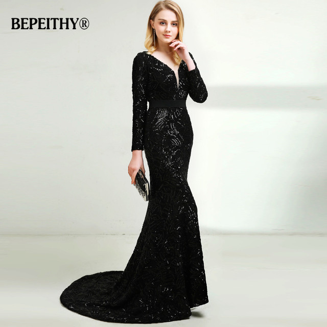 2018 V neck Black Sequins Lace Evening Dress With Long Sleeves ...