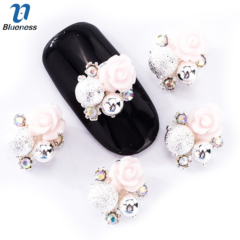 Blueness 10Pcs/Lot 3D Nail Art Decorations Flowers Design 2 Colors Glitter Rhinestone Alloy Accessories Studs For Nails TN1959