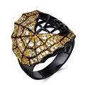 Мода Halloween Party Кольцо Уникальный Паук Веб-Дизайн Черный и Золото С Гальваническим Покрытием CZ Кольцо С Бриллиантом Для Женщин