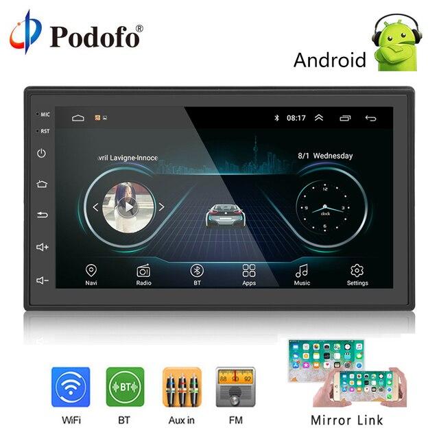 "podofo 2 din car radio android multimedia player gps navigation 7podofo 2 din car radio android multimedia player gps navigation 7\"" hd touch screen digital display universal auto audio stereo"