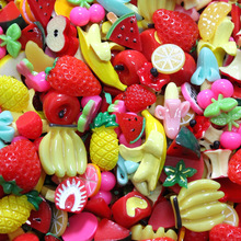 10Pcs Fruit Slime Supplies Accessories Phone Case Decoration for Slime Diy Filler Miniature Resin Cake Fruits Candy Chocolate E