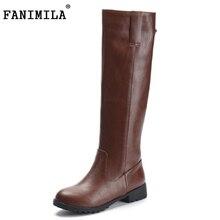 Fanimila размеры 33–43 Женские ботфорты выше колена на плоской подошве женщина для верховой езды теплые зимние Botas Брендовая обувь P20194