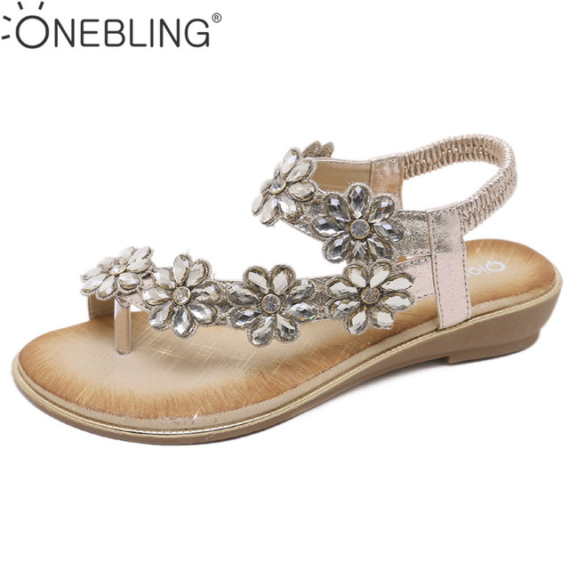 One Bling Bohemian Sandals Women Wedding Bridal Bridesmaid Shoes Flip Flop  Ring Toe Floral Rhinestone Crystal Shoes Flats fb51a3c2ee89