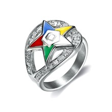 Fashionable Order of eastern star rings 316L stainless steel silver color enamel masonic oes charm rings for men and women(China)