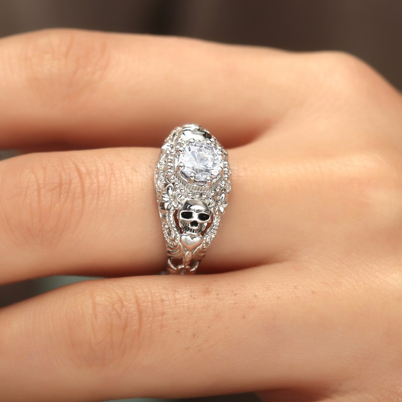 Skull Heart CZ Stone black Ring for Women Fashion Jewelry