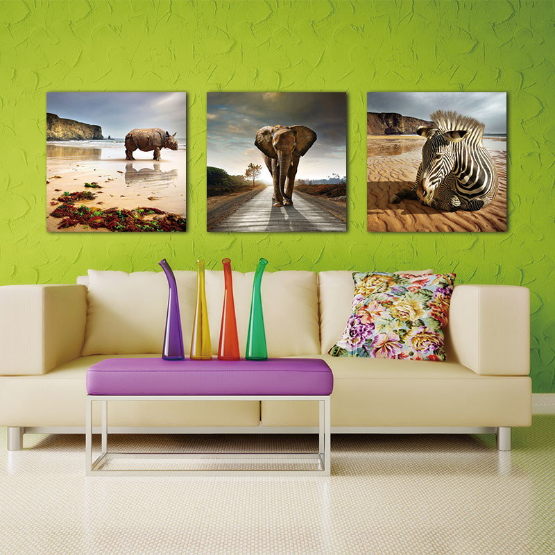 BANMU 3 개 인쇄 동물 작품 코뿔소 코끼리 얼룩말 사진 사진 인쇄 캔버스 벽 예술 벽 장식