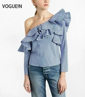 VOGUE N New Womens Sexy One Shoulder Long Sleeve Front Detail Blouse Tops Shirt Size SML