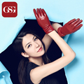 GSG Women's Winter Genuine Leather Gloves Lamb Skin Glove with Bow Warm Mittens for Ladies Lady Gloves Red Brown Blue Luvas