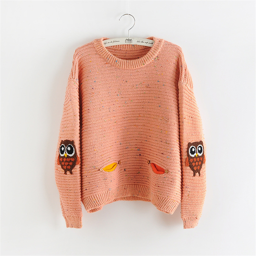 Autumn winter women sweater harajuku O-neck pullover female lovely owl  double pocket knitted sweaters 39d8334e4