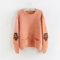 Herbst winter frauen pullover harajuku Oansatz pullover weibliche schöne eule doppeltaschen strickte pullover mode Rosa pullover