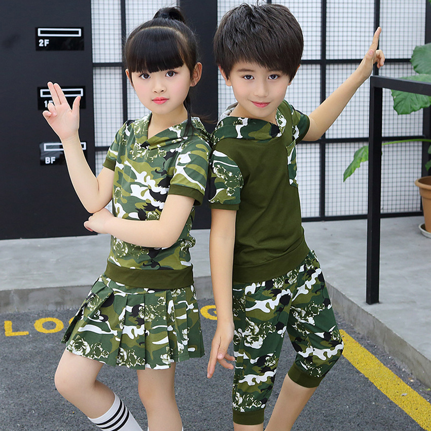 2PCs Camouflage Combat Military Uniform For Kids Boys Girls Hooded Green T-shirt Skirt Set Combat Army Suit Dance Costumes