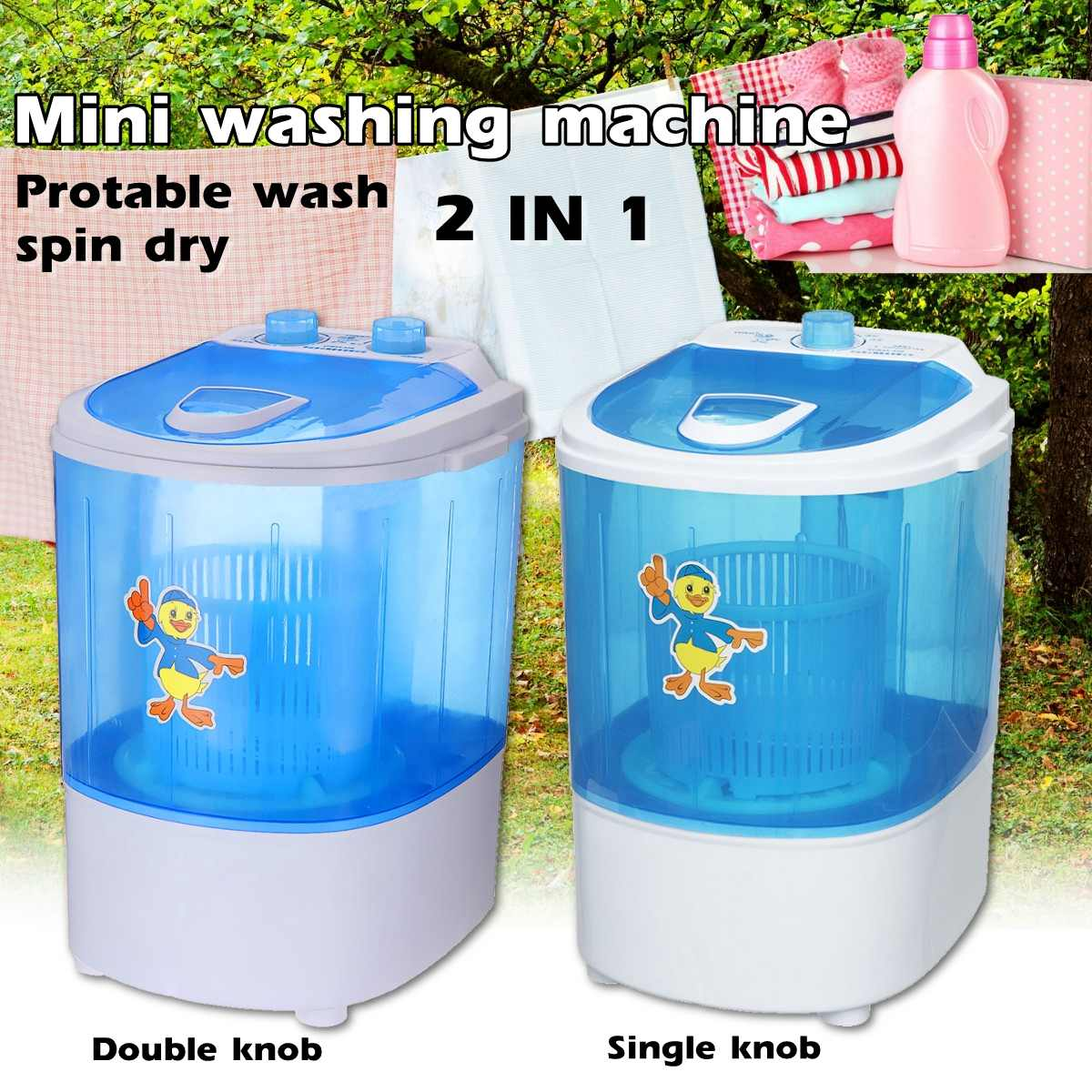 Mini Wash Machine Semi-automatic Single-barrel Washer Prevent Winding Wave Wheel Laundry Product