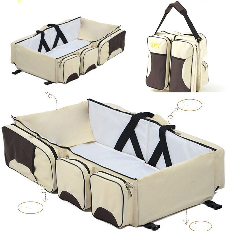 2018 New Multi-function Foldable Portable Crib Bed Large Capacity Mmmy Bag Shoulder Baby Bag Travel