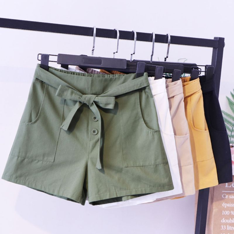 Women Summer High Waist Wide Leg Cargo Shorts Lace Up Bow Tie Solid Color Loose Shorts Three Buttons Trousers With Large Pockets