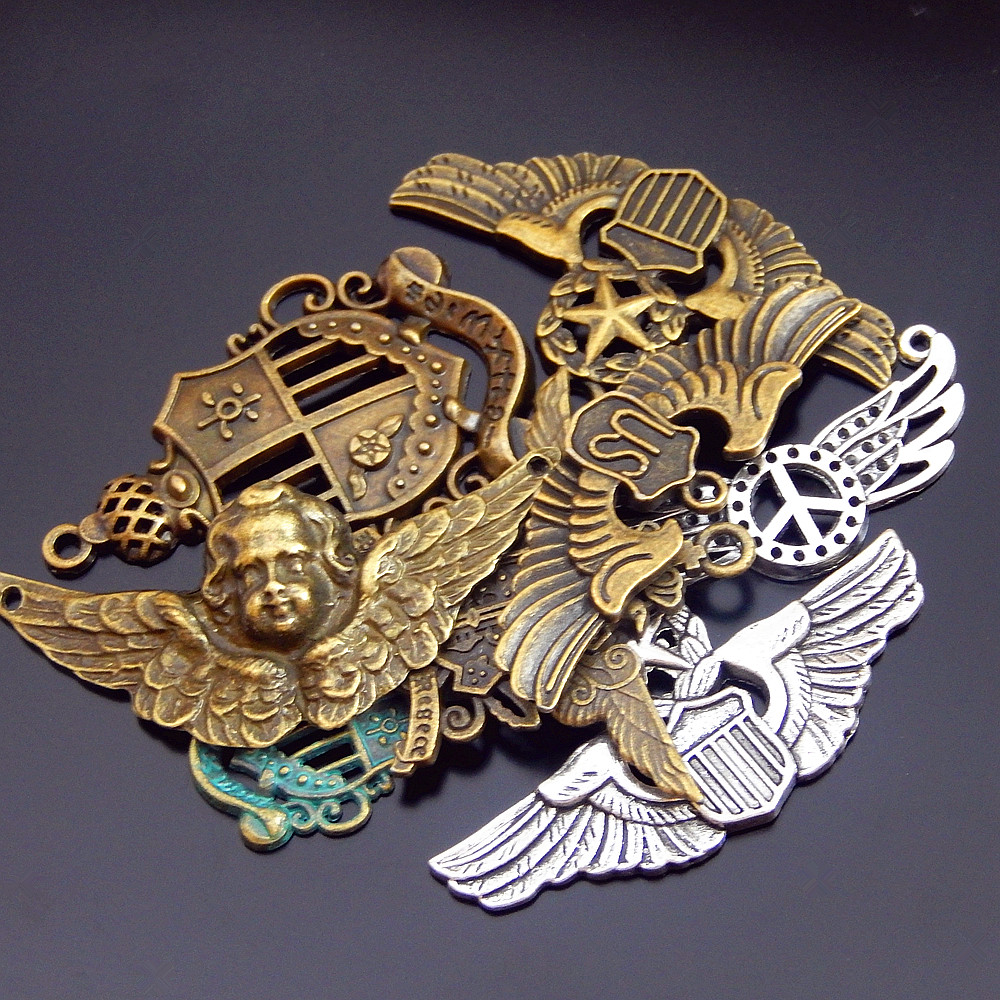 8pcs Mix Zinc Alloy Bronze Badge Fairy Wings Anchor Vintage Metal Necklace Pendant 44*30mm Connector Charm Jewelry Fine GR-714(China)