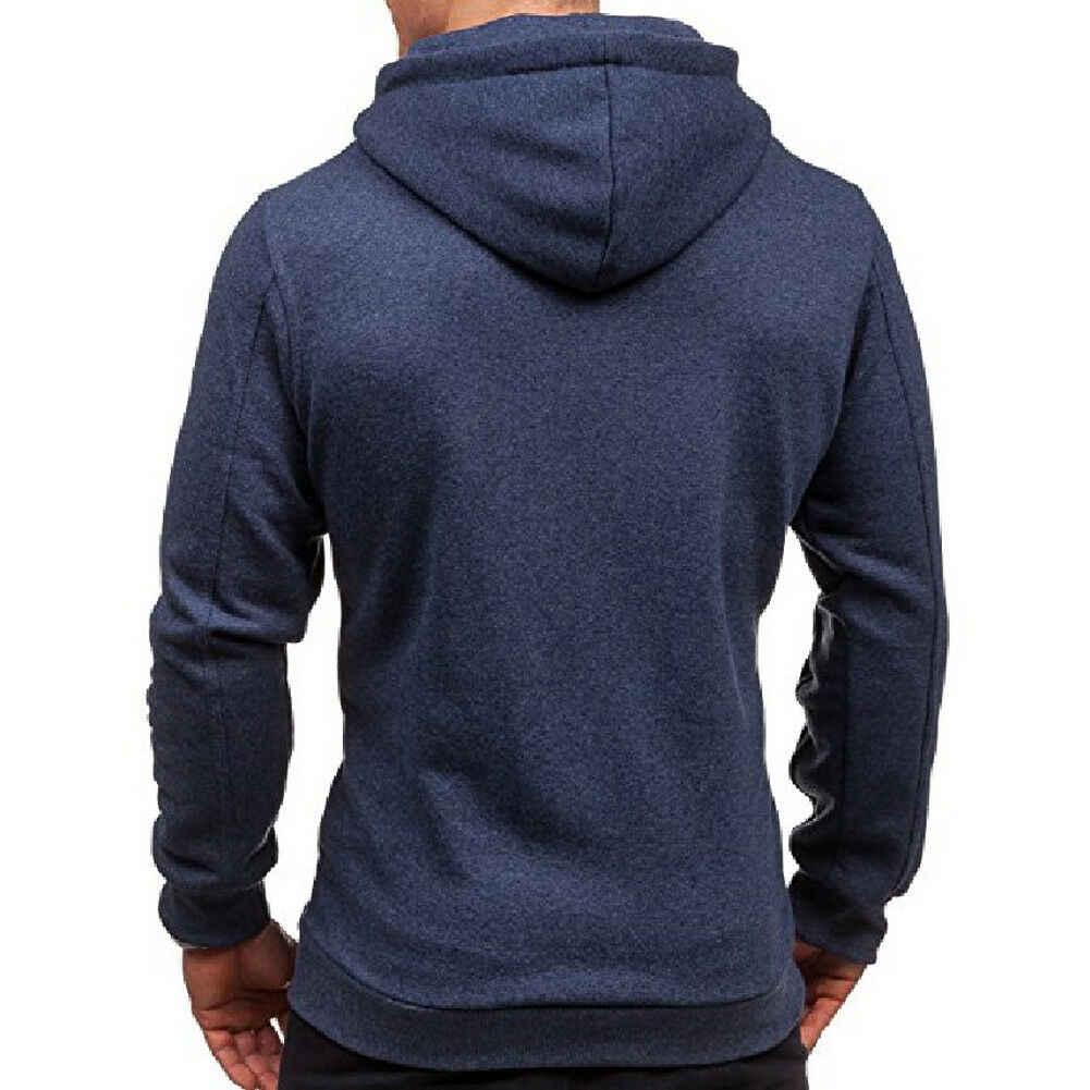 새로운 남성 겨울 슬림 까마귀 따뜻한 캐주얼 긴 소매 후드 티셔츠 코트 자켓 아웃웨어 블랙 그레이 레드 네이비 블루