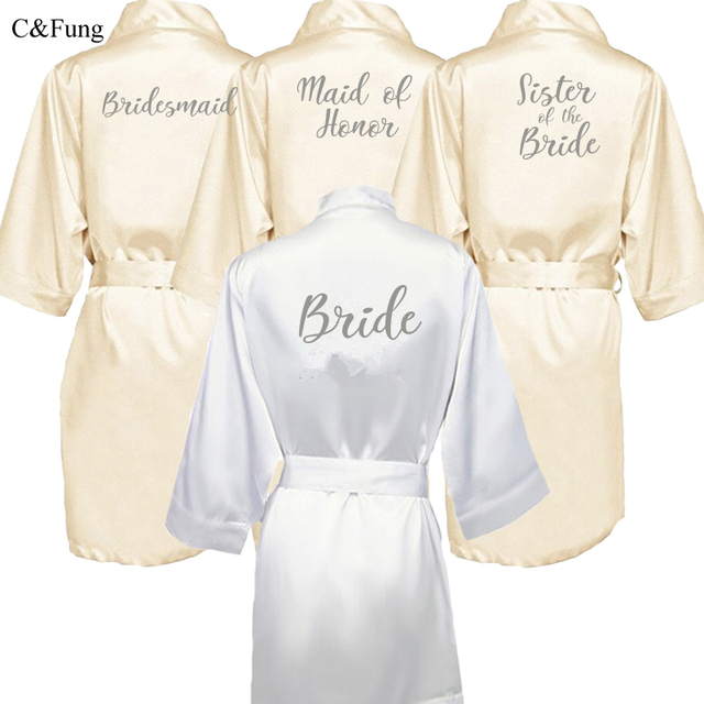 8e2e83693d C Fung champagne robe with silver writing mother sister of the groom robe  Bachelorette party kimono bridesmaid satin robes short