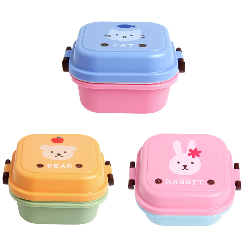 2016 Microwave Plastic Bento Box For Kids 2 layer Box Food Container Cute Bento Box Lunch Pail(China (Mainland))