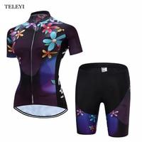 TELEYI Team Ropa Ciclismo Cycling Jersey Women Bike Bicycle Outdoor Sports Wear Shirt Short Sleeves Tops