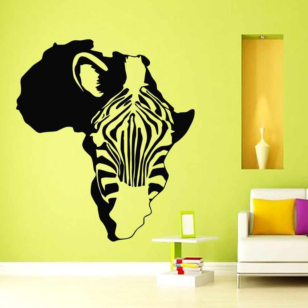 DCTAL Africa Map Sticker Decal Zebra Posters Vinyl Wall Decals ...