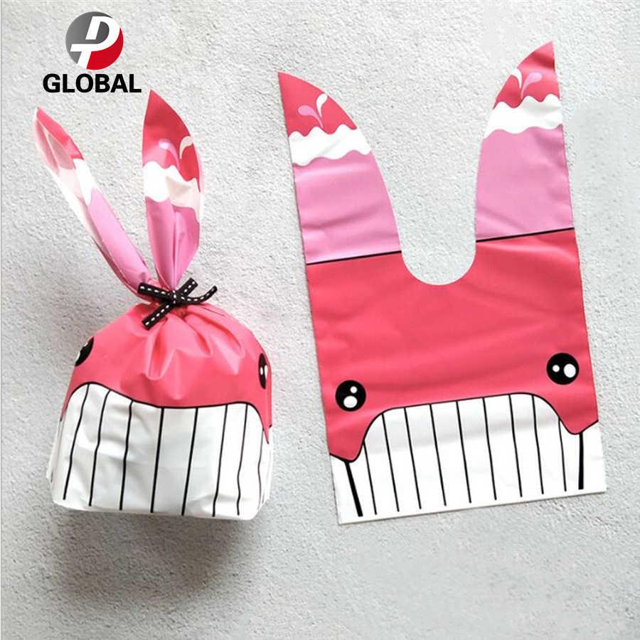 D & P 10 шт милый с кроличьими ушами для печенья мешок подарка для конфет печенья закуски выпечка посылка Свадебные сувениры подарки пасхальное украшение