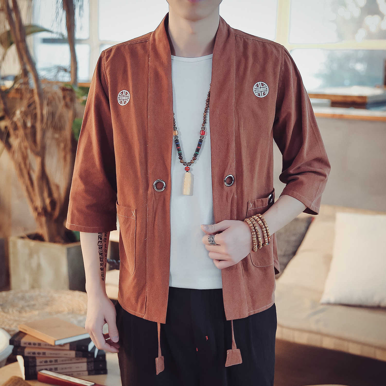 プラスサイズ夏新男性綿リネンカジュアルカーディガンシャツジャケット男性刺繍ストリートヒップホップ半袖着物コート