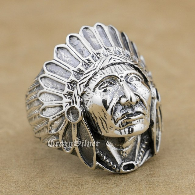 925 Sterling Silver Indian Chief Mens Biker Rocker Punk Ring 9Q022 US Size 8 to 14
