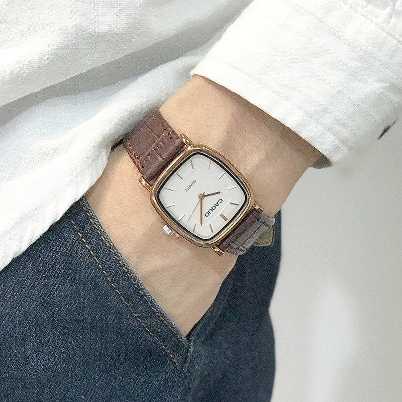 Men Square Quartz Wristwatches Business Retro Male Man Couple Watches Leather Band Bracelet Anqitue Bangle Watches Reloj-in Quartz Watches from Watches