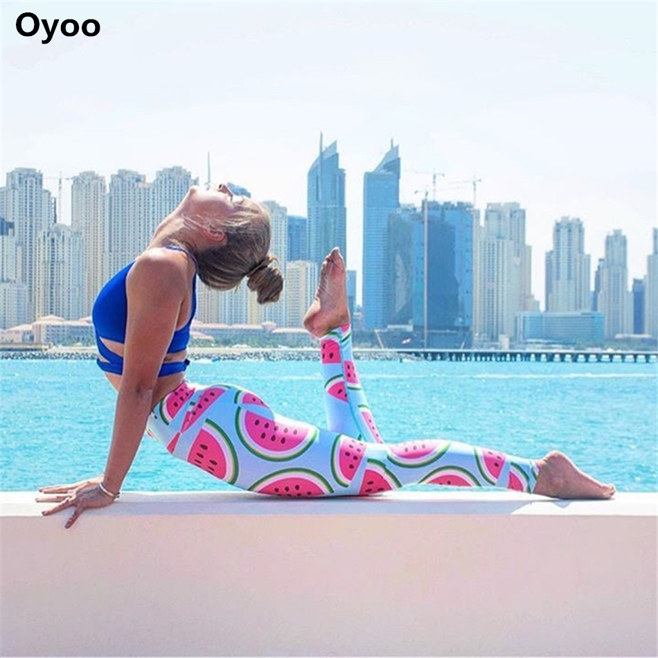 772364b5b7c582 Oyoo cute pink watermelon legging printed sport yoga pants women high waist  gym fitness leggings support drop shipping on Aliexpress.com | Alibaba Group