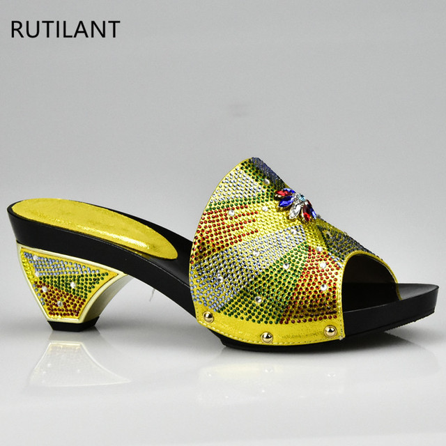 New Yellow Elegant Rhinestone Wedding Shoe Italian Women Sandals Shoes For Party African High Heels