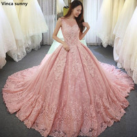 Pink Ball Gown Wedding Dresses Vestido De Noiva Long Robe De Mariage Custom Made