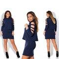 De manga larga de 2 unidades set vestidos otoño mujeres vestidos tallas grandes casual cuello alto party dress mujeres de talla grande ropa l-6xl