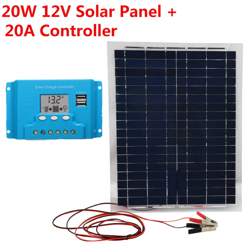 20A Solar Controll + Polysilicon Solar Panel 20W Charger Battery USB for RV Boat Car Home Solar Power Portable Solar Cell new solar panel 30000mah diy waterproof power bank 2 usb solar charger case external battery charger accessories
