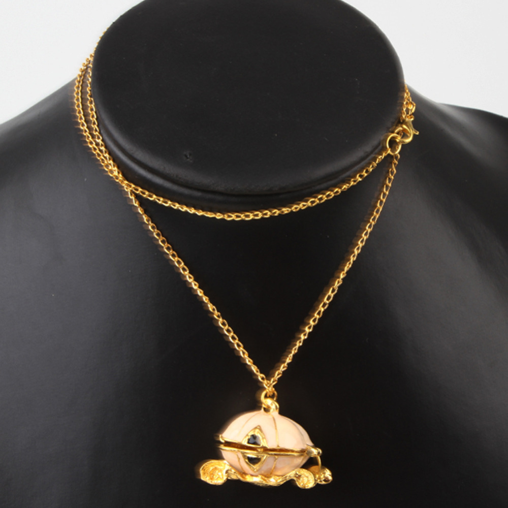 New Fashion Cinderellas Pumpkin Carriage Necklace Jewlary Gril Friend Daughter Gifts Drop Shipping NL-0257