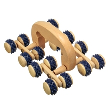 16 Wheels Wooden Roller Rolling Ball Massager Neck Back Leg Waist Body Relax Slimming Care Fitness Massage Tool Color Random